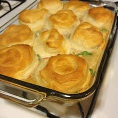 Chicken Pot Pie made easy! We love this Biscuit Chicken Pot Pie with pre-made biscuits, it's a delicious fast way to get dinner on the table. Chicken Pot Pie Casserole, Easy Chicken Pot Pie, Cream Of Chicken Soup, Chicken Recipes, Chicken Gravy, Campbells Chicken Pot Pie, Cream Chicken Over Biscuits, Biscuit Chicken Pot Pie, Chicken Soups