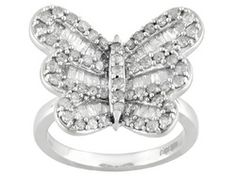Diamond 1.00ctw Round And Baguette Rhodium Over Sterling Silver Butterfly Ring Eav $450.00