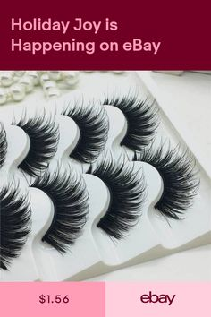 b35a7f46eef Cheap Natural 5 Pairs 100% Real Mink Hair Thick False Eyelashes Strip Lashes
