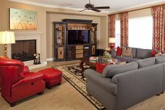 24 Elegant Living Room Designs - this looks so warm and inviting!