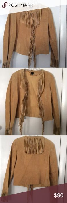 Mixit Medium genuine leather fringe jacket I wore this only once. I have begun my vegetarian life style slowly getting rid of real leather products in my closet anymore. 😭.     Great condition no signs of wear and tear from a smoke free home. I do have pets but this has been in the closet and no where near them! Mixit Jackets & Coats