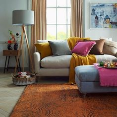 Modern living room with feature rug | Living room decorating | Country Homes & Interiors | Housetohome.co.uk
