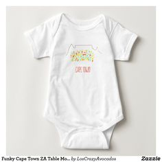 Funky Cape Town ZA Table Mountain Colorful Baby Bodysuit