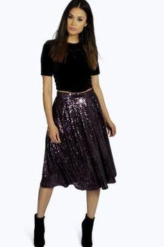 Boutique Cindy Sequin Full Midi Skirt at boohoo.com