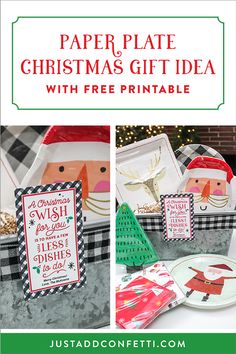 "This ""Less Dishes"" paper plate Christmas gift idea is so simple and cute! Just pair the free printable tag with any assortment of holiday paper plates and napkins. This would be an adorable hostess gift, or fun treat for neighbors or teachers. #Christmasgift #easyChristmasgift #JustAddConfetti #freeprintable #lessdishes #Christmas #giftideas #holidaygift"