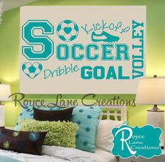 Soccer Word Art Wall Decal for Girls Room by Royce Lane Creations