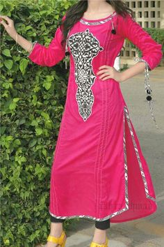 #Pink #Long #Kurti with #Leggings #Unique #Style