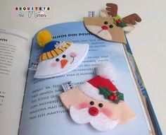 Christmas bookmarks from felt Felt Christmas Ornaments, Handmade Ornaments, Christmas Crafts, Christmas Decorations, Kids Crafts, Diy And Crafts, Paper Crafts, Felt Bookmark, Origami Bookmark