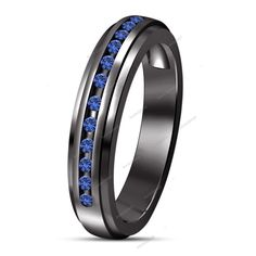 Half Eternity Band Ring 14K Black Gold Plated Round Blue Sapphire In Channel Set…