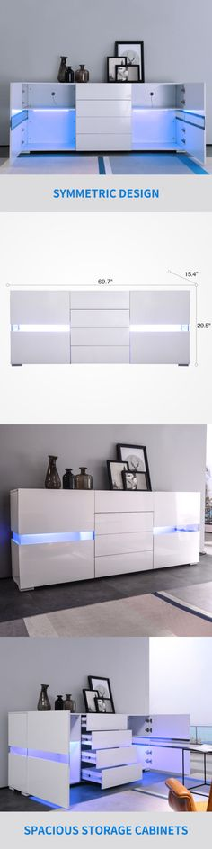 High Gloss LED Sideboard Buffet Cabinet Chest of Drawers Storage Cupboard White 722020231638