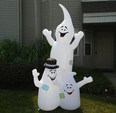 Airblown Inflatable Gemmy 8' Foot Goofy Ghosts Light Up Yard Ornament Halloween