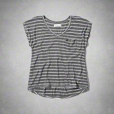 girls drapey v neck pocket tee
