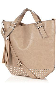 Bags  Clutches | Brown Base Stud Shopper | Warehouse