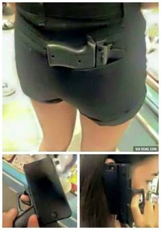 I bet no one dares to steal her phone with that gun shaped case!