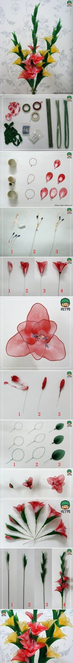 DIY Nylon Galdiolus Flower DIY Nylon Galdiolus Flower
