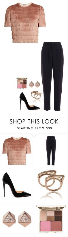 """Untitled #1008"" by h1234l on Polyvore featuring Raey, Christian Louboutin, FOSSIL and Stila"