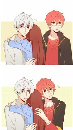 Seven and Saeran Mystic Messenger Unknown, Mystic Messenger Characters, Mystic Messenger Fanart, Manga Anime, Anime Art, Saeran Choi, Anime Comics, Anime Love, Anime Couples