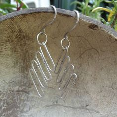 Textured parallel silver filled drop earrings by FlordaVida