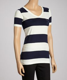 Take a look at this Dust & True Navy Stripe Top by Nanavatee on #zulily today!