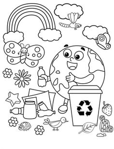 Earth Day Coloring Pages, Coloring Book Pages, Coloring Pages For Kids, Adult Coloring, Mickey Nails, Earth Day Projects, Earth Day Activities, Environment Day, Happy Earth