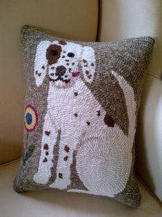 Great needlepoint decorative dog throw pillow.