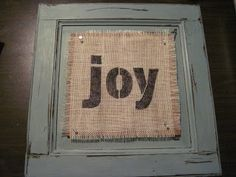 S.O.O.N....something out of nothing.  I painted and distressed a cabinet door, made it into a bulletin board, and added a fun burlap sign that I made with a stencil and a sharpie and I can change it whenever I want.  I <3 this one!