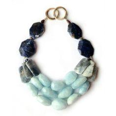 "KEZEN by La Diosa Jewellery (UK) Stones: Aquamarine, Blue Jasper, Garnet & Sodalite  Metal: Sterling silver clasp  Length: 16.5"""
