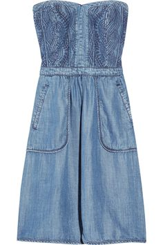 Get Paige Duke's (Sweet Home Alabama) quilted denim strapless dress from the Season finale date w/ Bubba