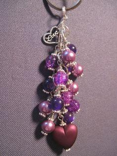 Purple Glass Bead Purse Charm / Key Chain by FoxyFundanglesByCori, $10.00