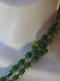 Vintage Two Tone Two Strand Green and Gold Beads by jonscreations