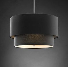 Two-Tier Round Shade Pendant - Restoration Hardware in Black Linen