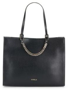 Black leather tote bag with chain detail. Maggie Saffiano Leather Tote Bag