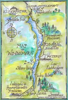 A map of Windermere in the english Lake District showing locations used when of filming 'Swallows & Amazons' in 1973
