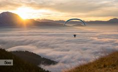 Flying above the Clouds. A paragliding pilot flying high above a carpet of clouds. Image available for licensing. Order prints of my images online, shipping Have A Great Vacation, Great Vacations, Sky Adventure, Adventure Travel, Visit Austria, Above The Clouds, Paragliding, Adventure Photography, National Geographic Photos