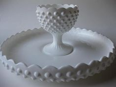 Vintage Classic Fenton Milk Glass Hobnail Chip N Dip Set