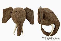 ELEPHANT HEAD DIY | MY WHITE IDEA DIY Fabric Animals, Felt Animals, Animal Heads On Wall, Rabbit Head, Handmade Stuffed Animals, Elephant Head, Elephant Pattern, Faux Taxidermy, Fabric Toys