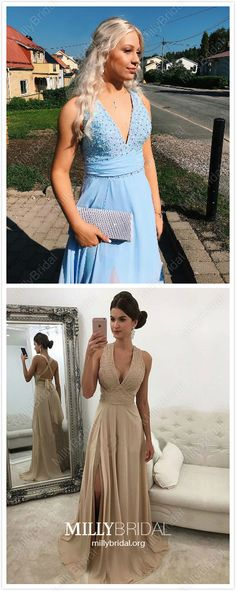 Blue Prom Dresses Long, A-line Formal Evening Dresses with Slit, Open Back Military Ball Dresses V-neck, Elegant Pageant Graduation Party Dresses Chiffon Prom Dresses Blue, Homecoming Dresses, Sexy Dresses, Cute Dresses, Party Dresses, Prom Gowns, Graduation Dresses, Pageant Dresses, Cheap Dresses