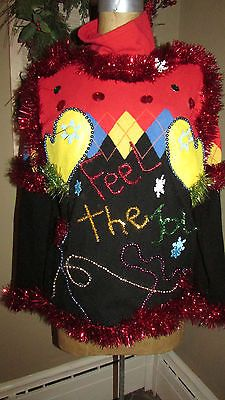 UGLY Christmas Sweater FeeL the JoY Sparkle Glitzy OOAK XL dare to be different<3<3SOLD<3<3