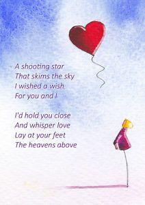 Shooting Star Love Heart Poem Romance Lovers Watercolour Print