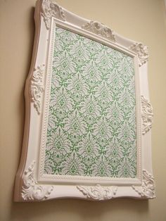 Corkboard. Choose frame and cover corkboard with fabric of choice, easy and cute!