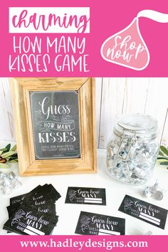If you want a memorable party game, these black and white minimalist baby shower guessing game jar cards are for you; vintage chalkboard guess how many candy in the jar cards are girl baby shower decorations for girl baby gender reveal party supplies kit; guess the number jar cards, chalk guess how many bridal shower games for guests gender neutral baby shower games to play woman guess how many kisses game gender reveal games for party man boy baby shower ideas kids birthday party games for kids Baby Shower Guessing Game, Easy Baby Shower Games, Baby Shower Candy, Baby Shower Activities, Bridal Shower Games, Baby Boy Shower, Gender Reveal Games, Gender Reveal Party Supplies, Baby Gender Reveal Party