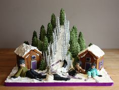 Ski Slope Cake with Gingerbread Chalets by *KatesKakes