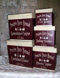 Prairie Daze Primitive Canaster Set Paper by DriftwoodPrimitives