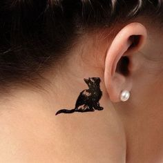 Behind-the-ear Cat Tattoo for Women.