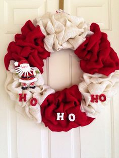 White & red santa wreath ... Christmas