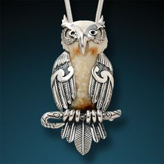 Ancient Fossilized Walrus Ivory Silver Owl Pendant – <b>Wise One</b>