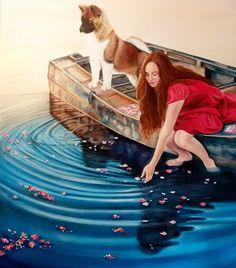 Claudia Alameda M. Jovencita con su perro en un bote (¿autoretrato?) óleo sobre tela de 70 x 80 cms ORIGINAL composición a partir de varias fotos.