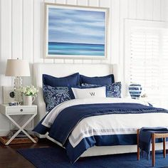Coastal Bedroom Design and Decoration Ideas - For Creative Juice Ocean Bedroom, Beach House Bedroom, Seaside Bedroom, Master Bedroom, Nautical Bedroom, Trendy Bedroom, Nautical Bed Linen, Navy Bedroom Decor, Master Suite