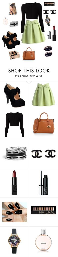 """#Bows #Like #channel #creativeoutfits"" by thehotline ❤ liked on Polyvore featuring Chicwish, Cushnie Et Ochs, MICHAEL Michael Kors, GUESS, NARS Cosmetics, Clinique, Forever 21, Olivia Burton and Chanel"