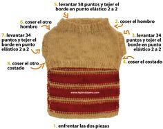 Abrigo para perro mediano - Tejiendo Perú Knitting Stitches, Knitting Patterns, Dog Pattern, Chihuahua Dogs, Chihuahuas, Dog Dresses, Crochet Animals, Pet Shop, Animals And Pets